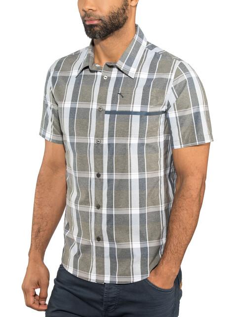 Shimano Transit Short Sleeve Check Button Up Shirt Men Navy Blazer